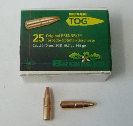 Пуля охотничья Brenneke TOG к. .30 (.308 diam) (10,7g/165gr) (10шт)